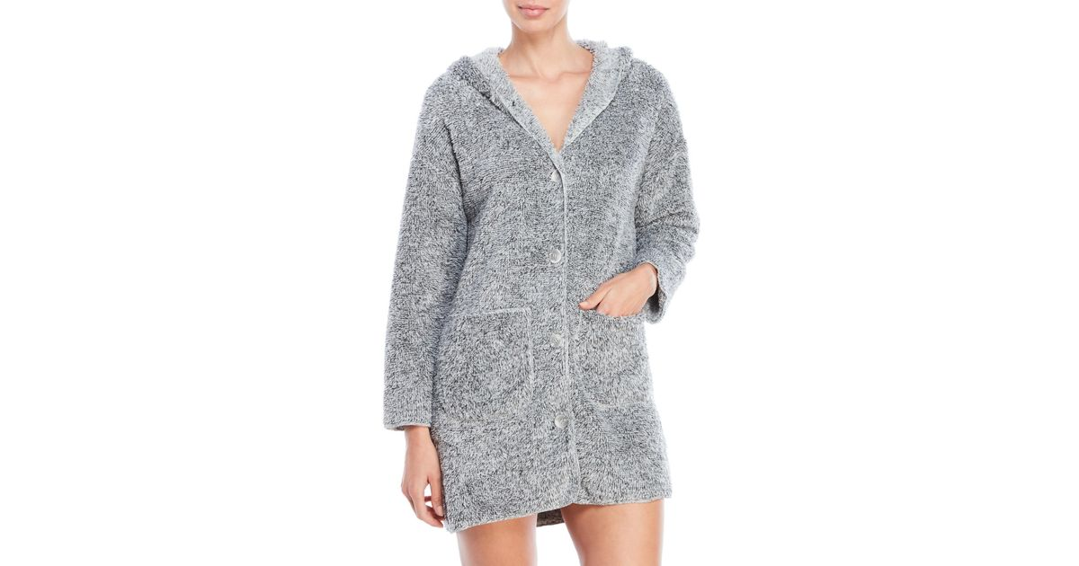 Lyst - Jessica Simpson Hooded Button-Up Robe in Gray