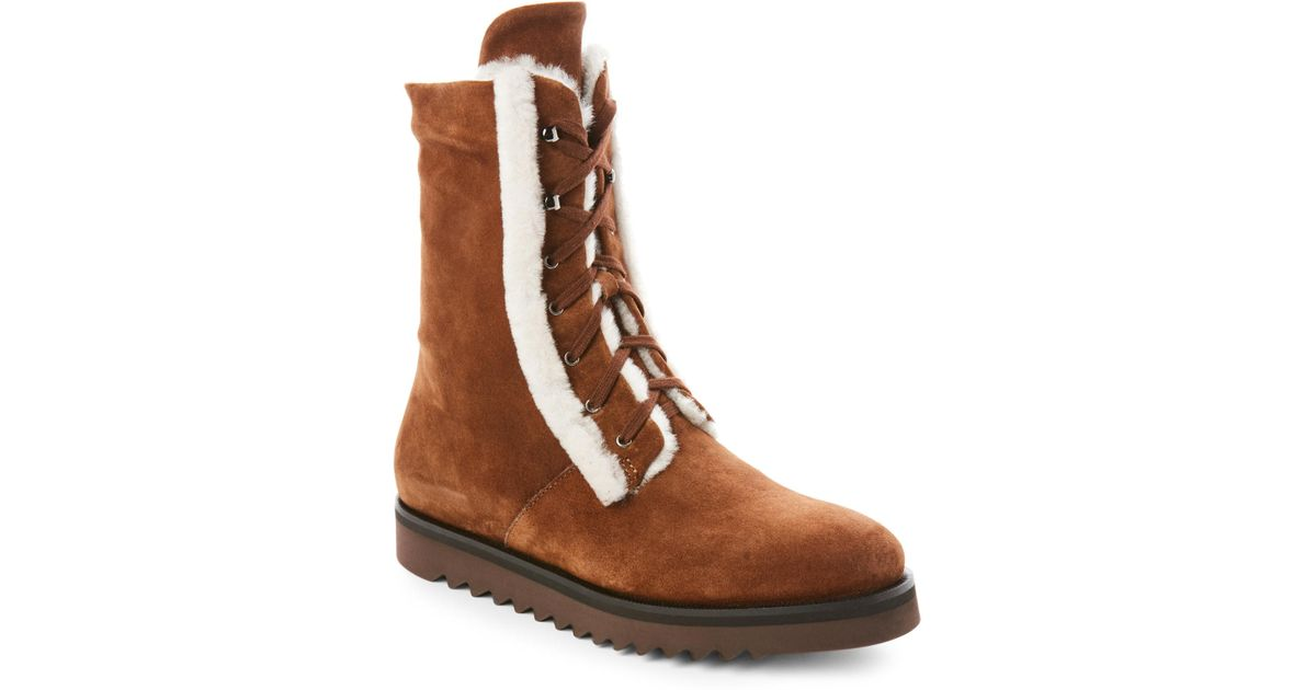 844dad16e4a8 Lyst - Aquatalia Chestnut Payton Real Fur Lace-up Boots in Brown