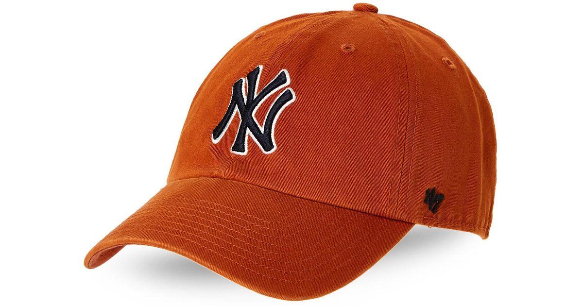 f1ad2cd0ca4 Lyst - 47 Brand New York Yankees Curved Brim Baseball Cap in Orange for Men