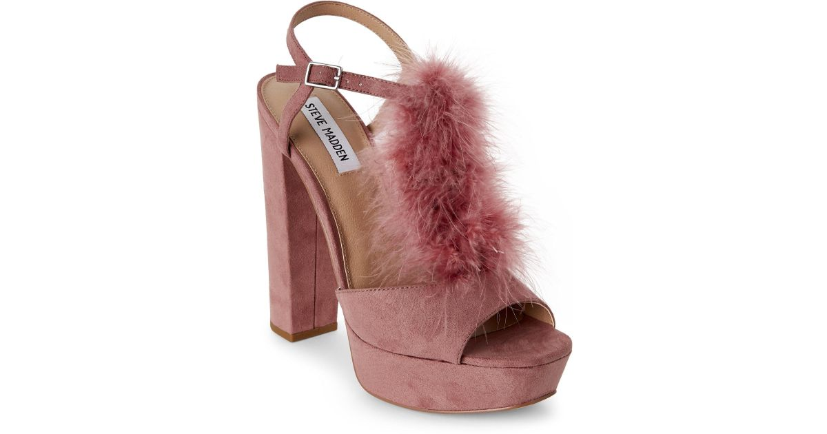 5cdf08d953d Lyst - Steve Madden Mauve Tricia Feather Platform Block Heel Sandals in  Purple