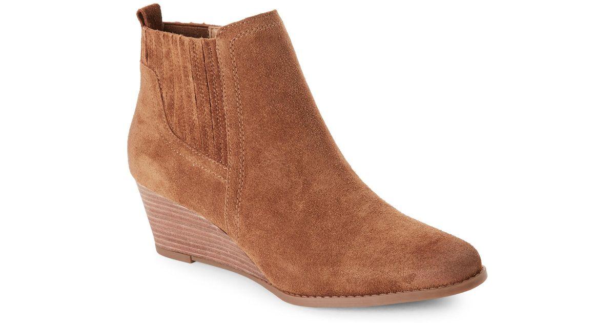 b9a4bd713367 Lyst - Franco Sarto Cognac Wayra Wedge Ankle Booties in Brown