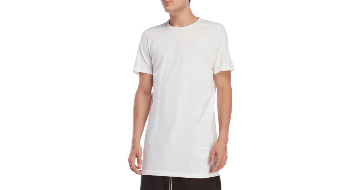 Lyst - Drkshdw By Rick Owens Elongated Tee in White for Men 4bdd778850bd