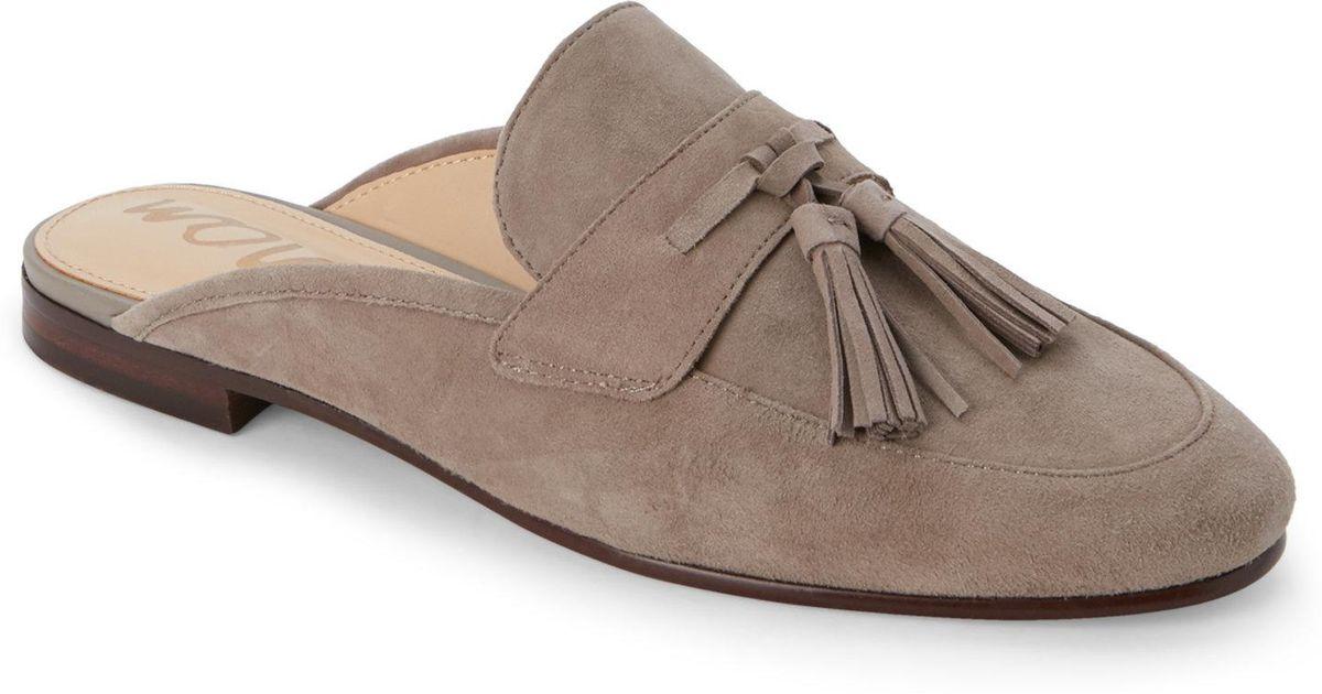 ea350b30dca129 Lyst - Sam Edelman Putty Paris Suede Tasseled Loafer Mules
