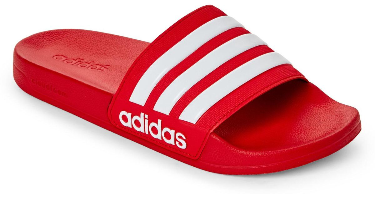 watch dcdd3 d6485 adidas Scarlet   White Adilette Cf Slide Sandals in Red - Lyst