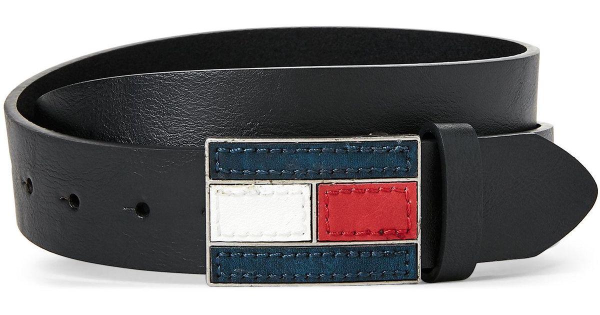 f881ce666af7 Lyst - Tommy Hilfiger Black Logo Flag Plaque Belt in Black for Men
