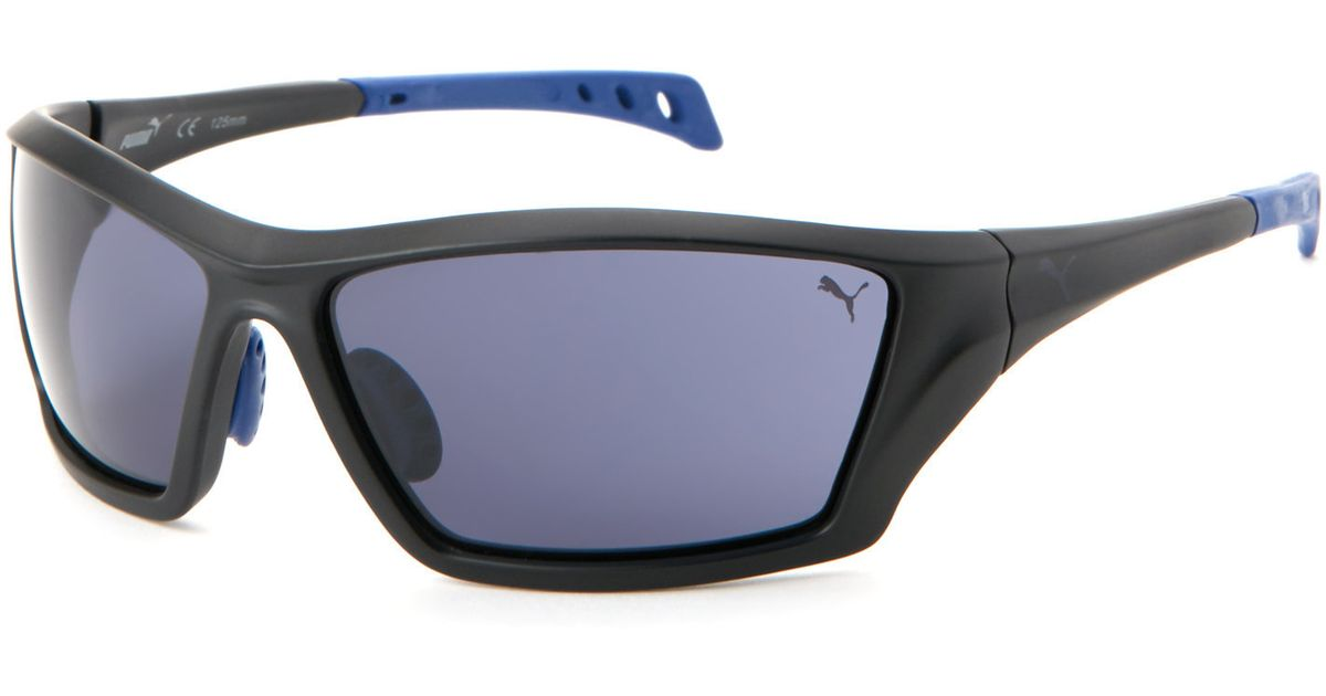 834e2f551b Lyst - PUMA Black Pu 14701 Rectangular Wrap Sunglasses in Blue for Men