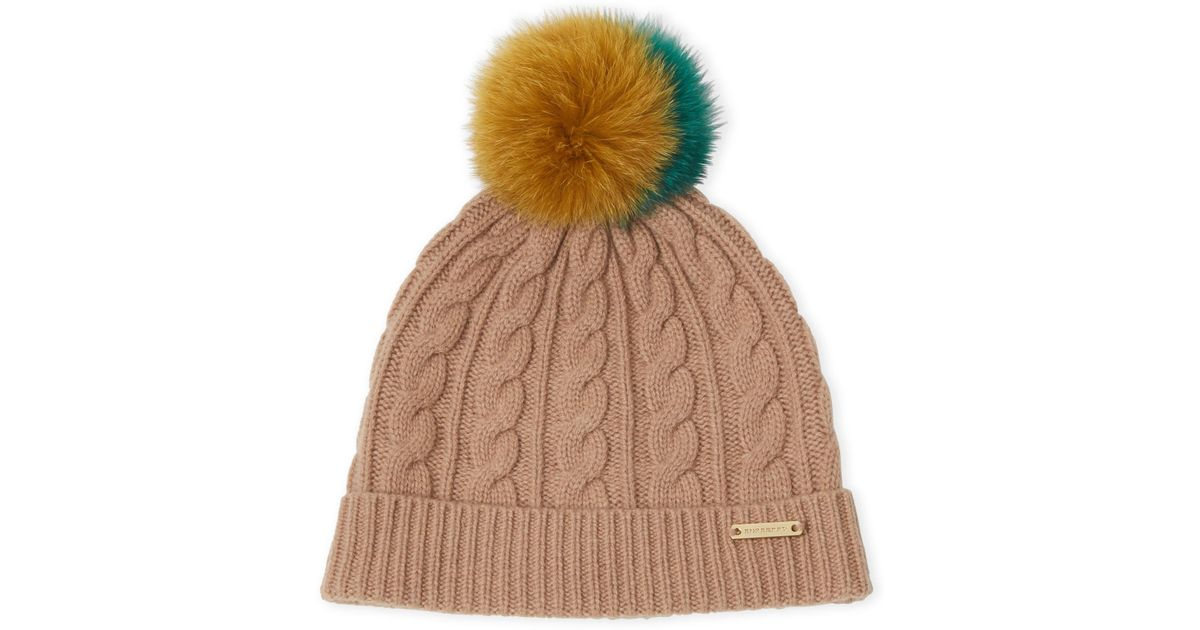 5a2d85e9c762e Burberry Camel Real Fur Pom-pom Beanie in Natural for Men - Lyst