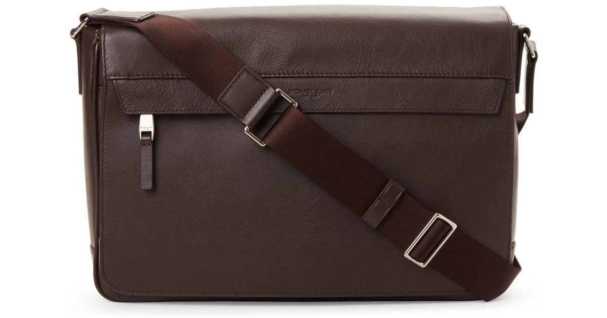 f8862456daa9 Lyst - Michael Kors Odin Leather Messenger Bag in Brown for Men
