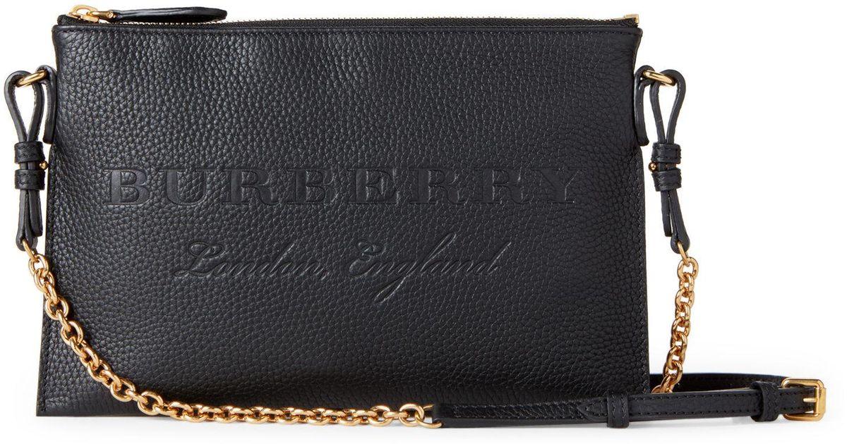 Lyst - Burberry Black Peyton Leather Chain Crossbody in Black d601bf3b8a