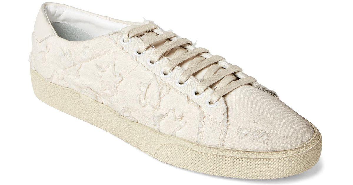 6c10ecd8c0d Saint Laurent Cream Star-appliqué Distressed Low-top Sneakers in Natural  for Men - Lyst