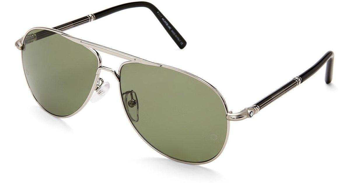 15e94f7941 Lyst - Montblanc Mb 517T Silver-Tone Xl Aviator Polarized Sunglasses for Men