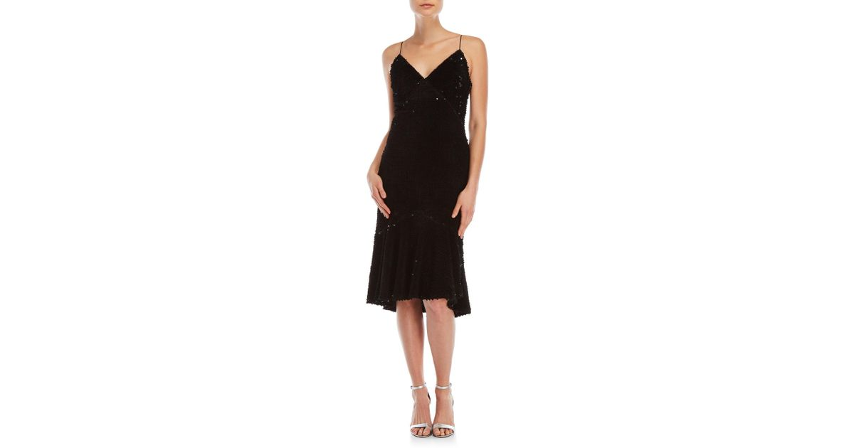 4e5e26e0f68c Vera Wang Velvet Sequin Paillette Slip Dress in Black - Lyst