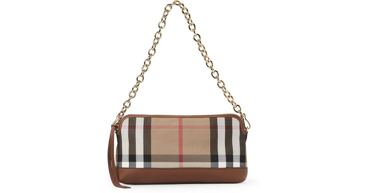 f25d89e2ae Burberry House Check Abingdon Clutch in Natural - Lyst