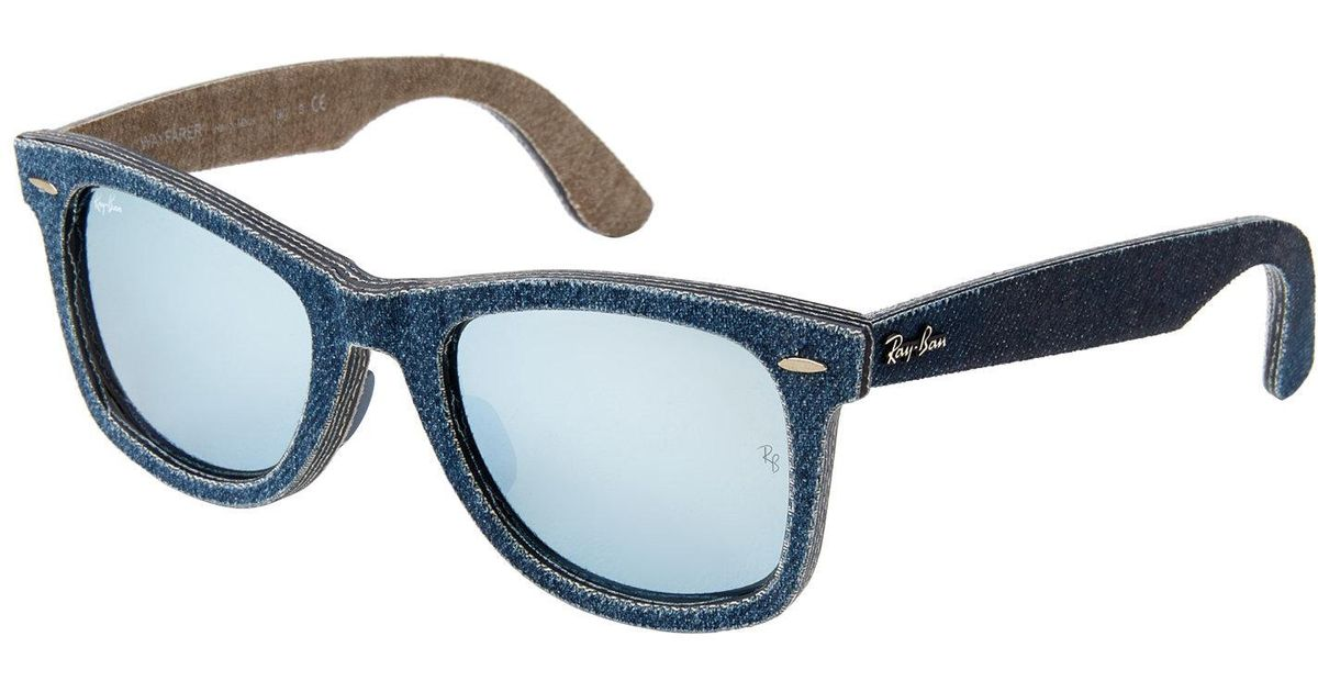d75de9e702 Lyst - Ray-Ban Rb2140 Blue Denim Wayfarer Sunglasses in Blue