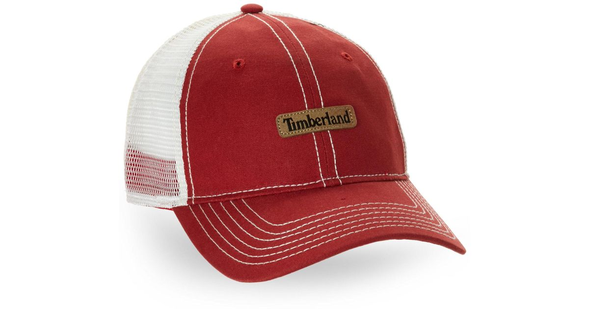 d4223433 Timberland Trucker Hat in Red for Men - Lyst