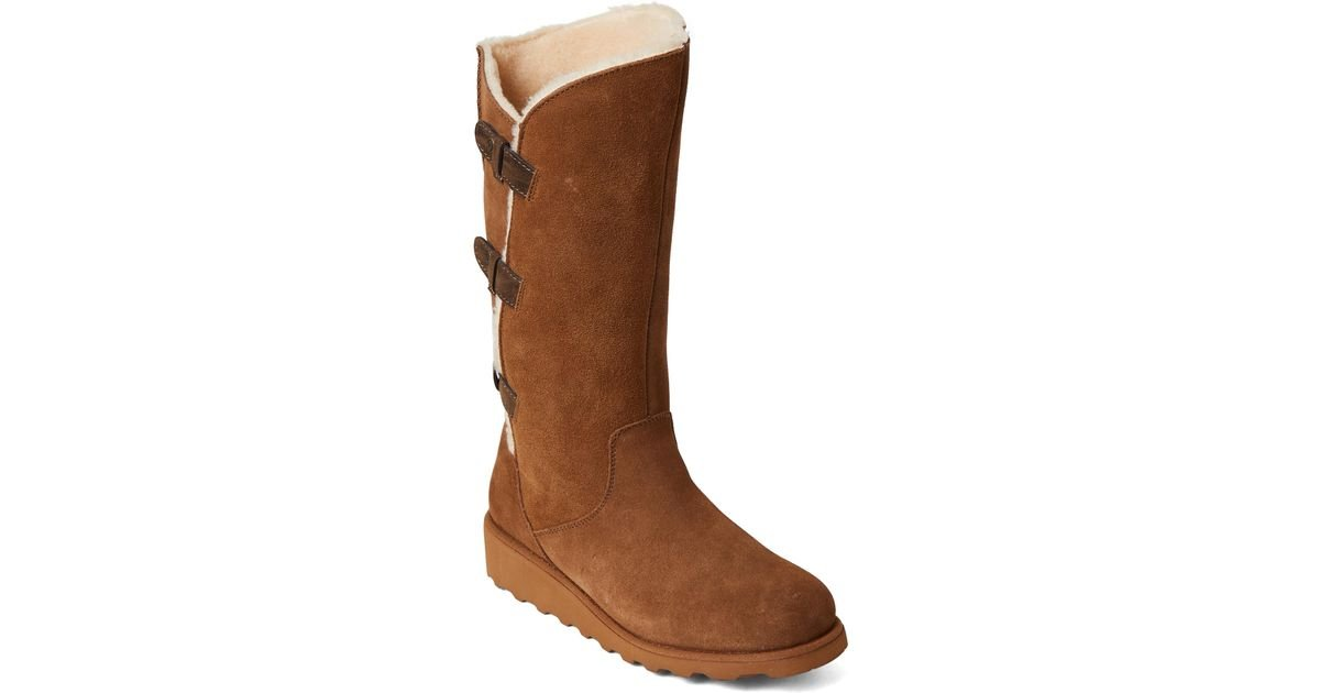 9f6b0c227cd BEARPAW - Brown Hickory Hayden Real Fur Tall Wedge Boots - Lyst
