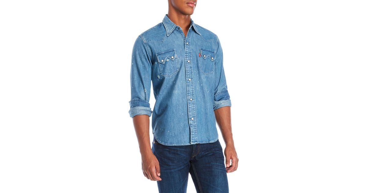 ba1c75a0cd Lyst - Levi s 1955 Sawtooth Denim Shirt in Blue for Men