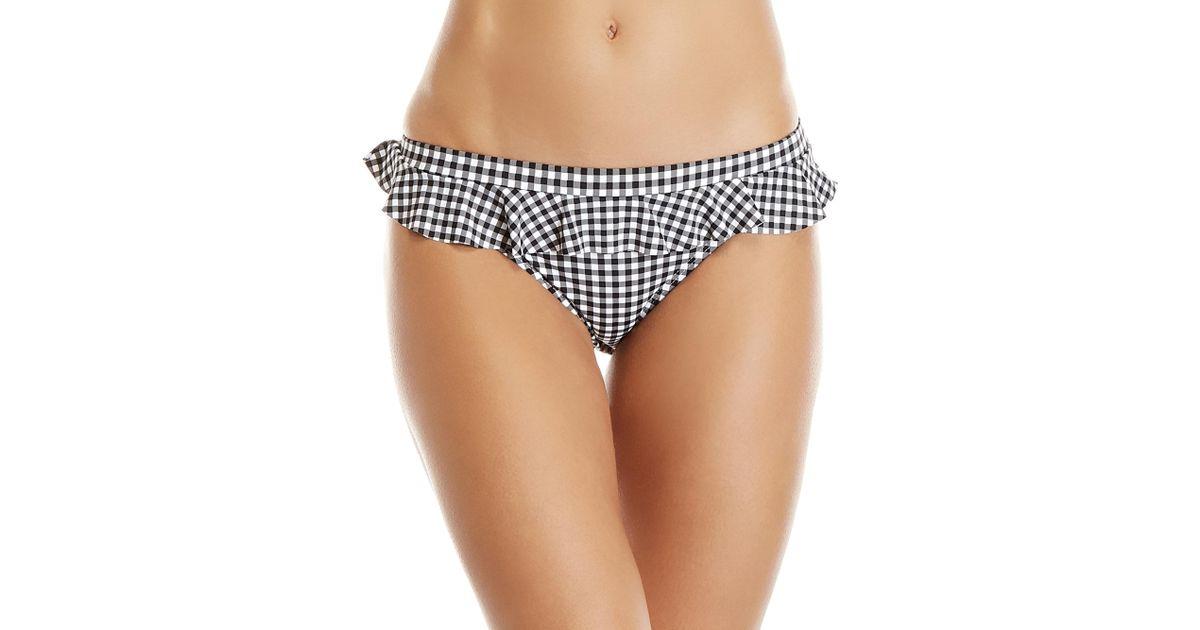 4674d45e79ade Juicy Couture Gingham Ruffle Bikini Bottom in Black - Lyst