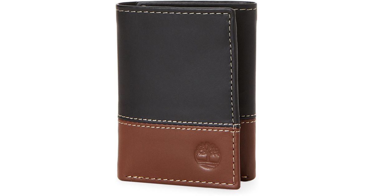 23d77bf0e7dc Lyst - Timberland Black & Brown Leather Tri-fold Wallet in Black for Men