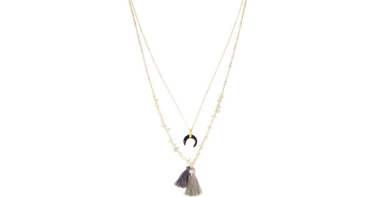 Panacea Triple Layer Tassel Necklace XaAY50kA
