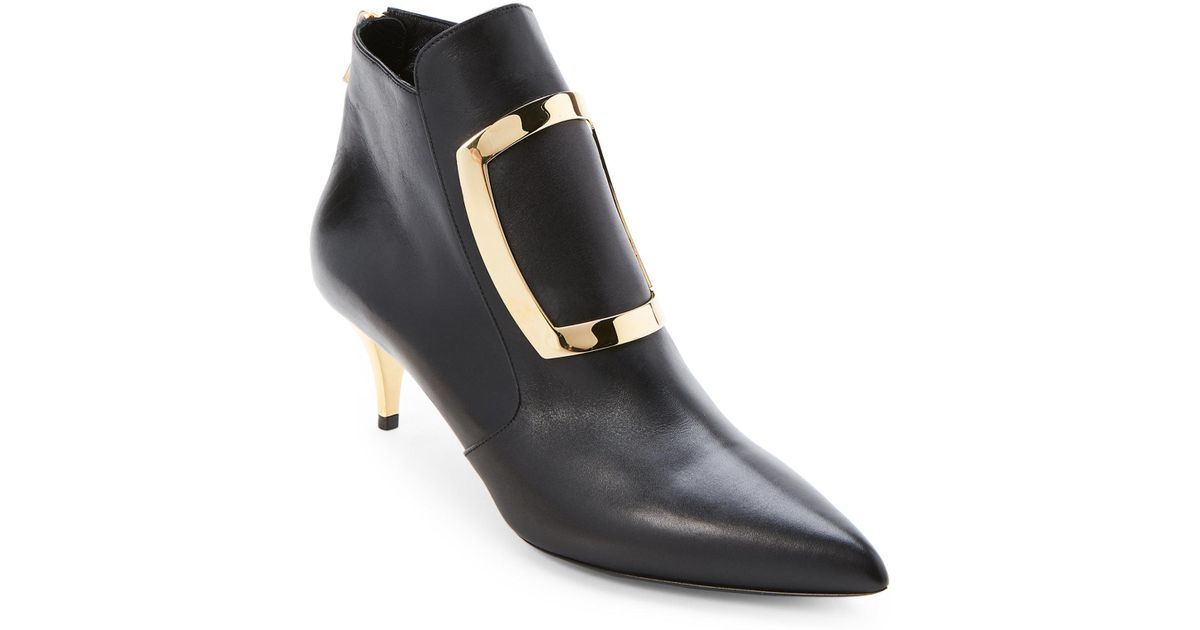 acce4bb9f47 Lyst - Balmain Black Marie Buckle Ankle Booties in Black