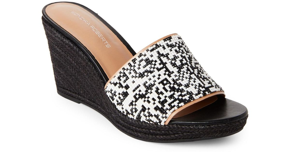 bdb0cae28d0c Lyst - Sondra Roberts Black   White Beaded Espadrille Wedge Sandals in Black  - Save 84.7457627118644%