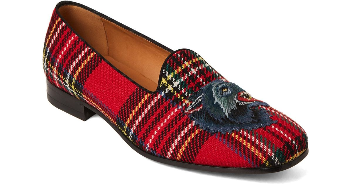 c5b32f3a7 Lyst - Gucci Flare Wolf Appliqué Tartan Slippers in Red for Men