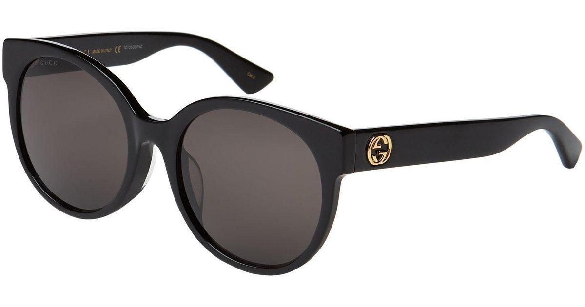 22a6f1b567c Lyst - Gucci Gg 0035 s Black Round Sunglasses in Black