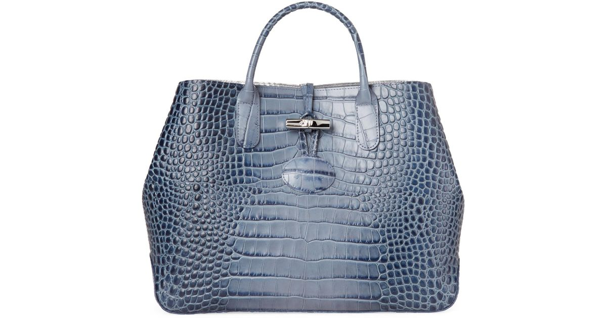 Lyst - Longchamp Pilot Blue Roseau Croc-embossed Shoulder Bag in Blue 5b1ba3b5d9610