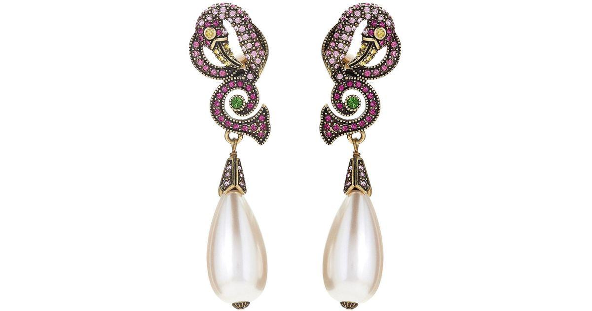 c1eece224 Lyst - Heidi Daus Pink Flamingo Crystal-embellished Drop Earrings