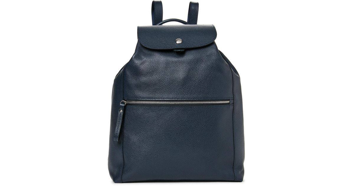 7828ddf305b5 Lyst - Longchamp Navy Le Foulonne Leather Backpack in Blue