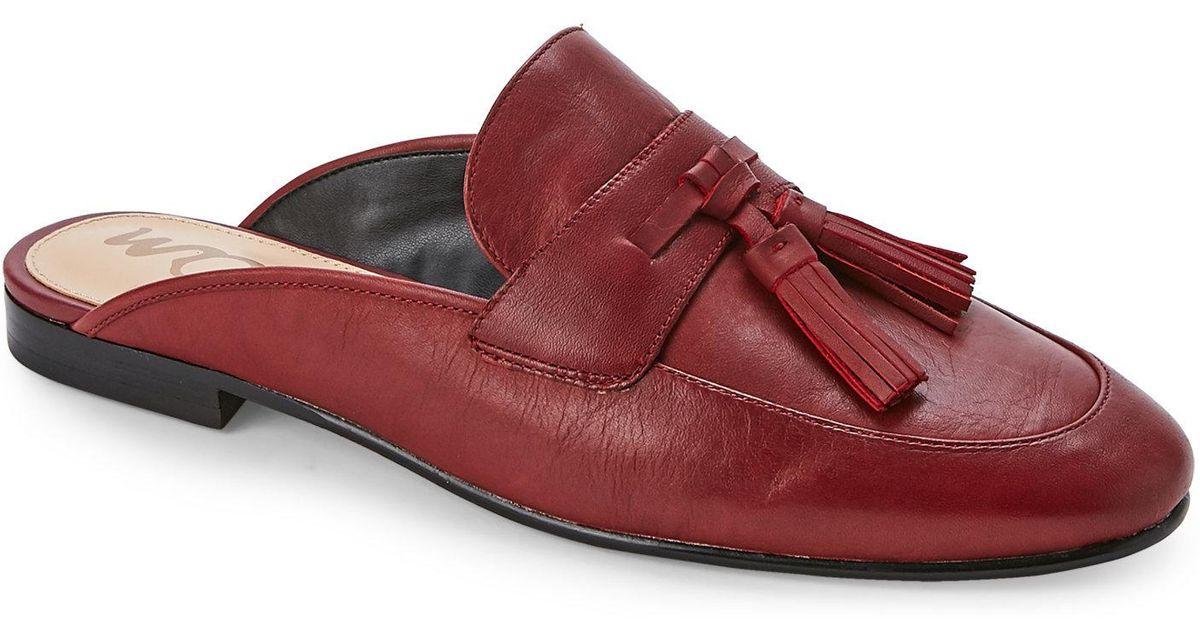 6168e3418ae7 Lyst - Sam Edelman Tangelo Red Paris Tasseled Loafer Mules in Red
