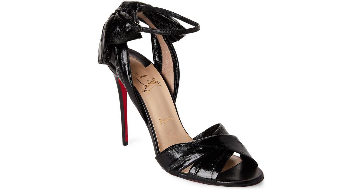 3602e239c75 Lyst - Christian Louboutin Black Marylineska Eel   Leather Bow Sandals in  Black