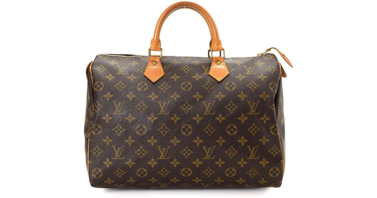 a17f235e8a97 Lyst - Louis Vuitton Monogram Speedy 35 Handbag - Vintage in Brown