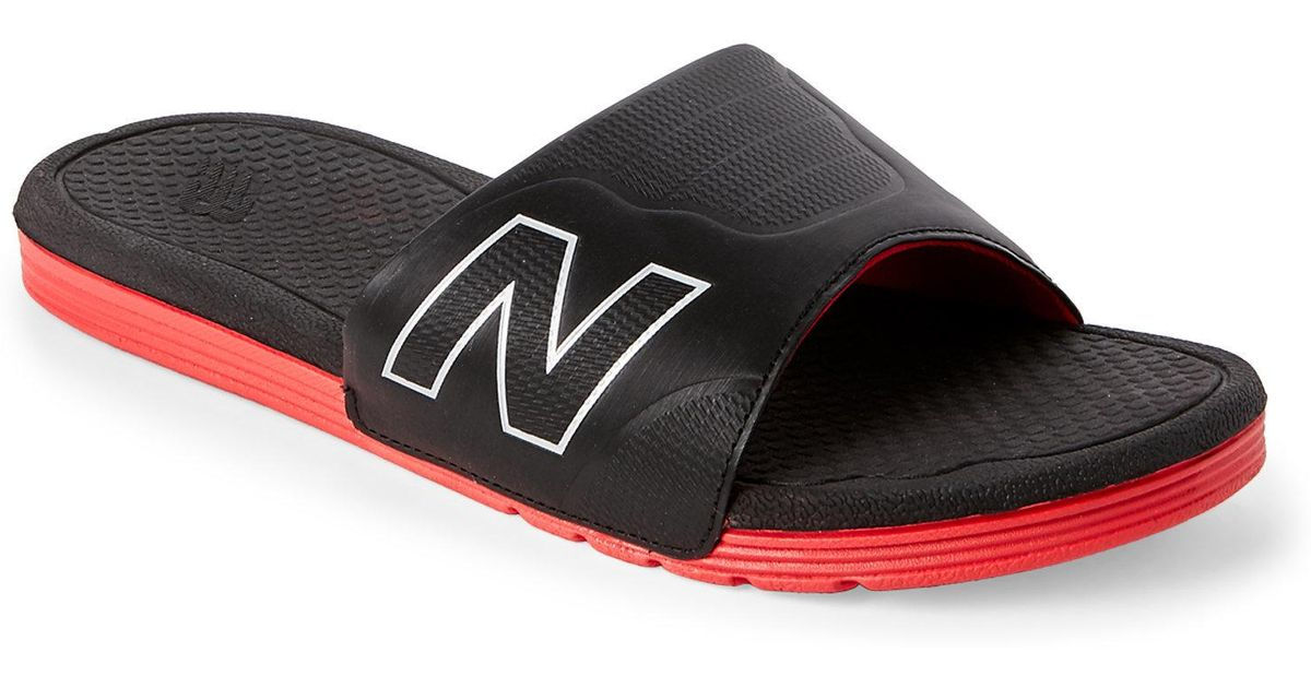 5c0ebba24782 ... clearance lyst new balance black red pro slide sandals in black for men  435f8 c3e71