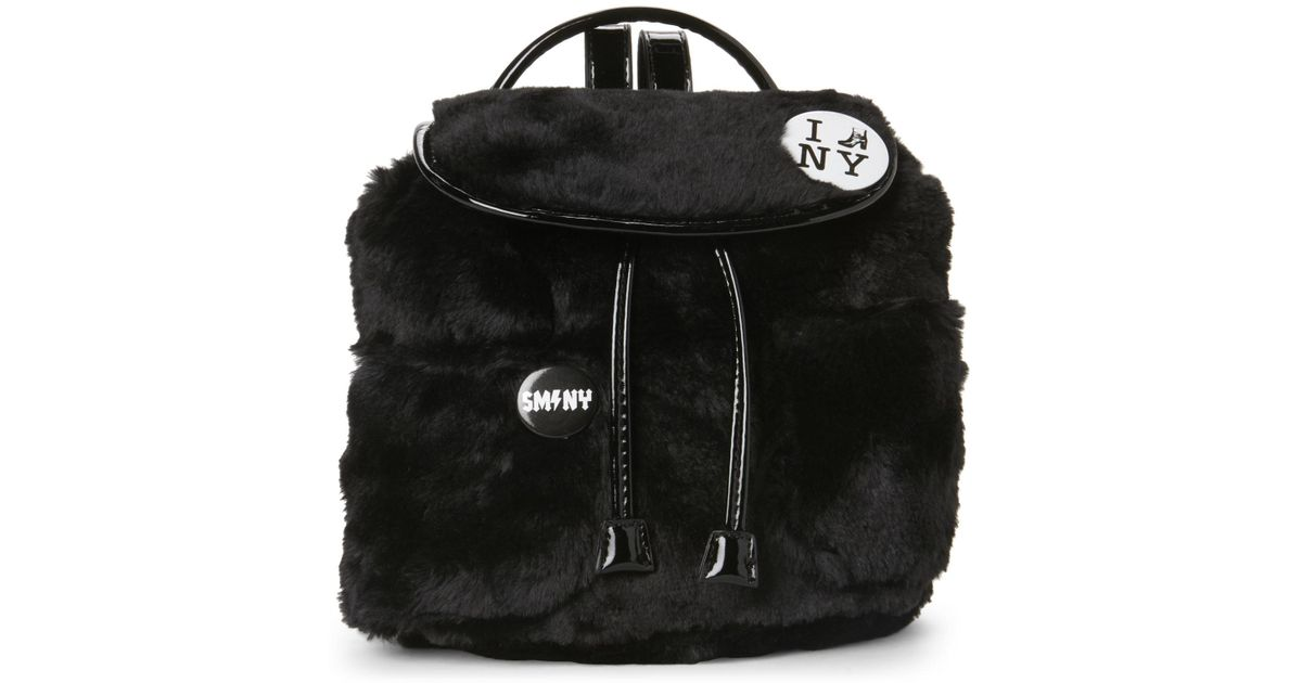 edf4e7f436 Lyst - Steve Madden Black Blauren Faux Fur Mini Backpack in Black