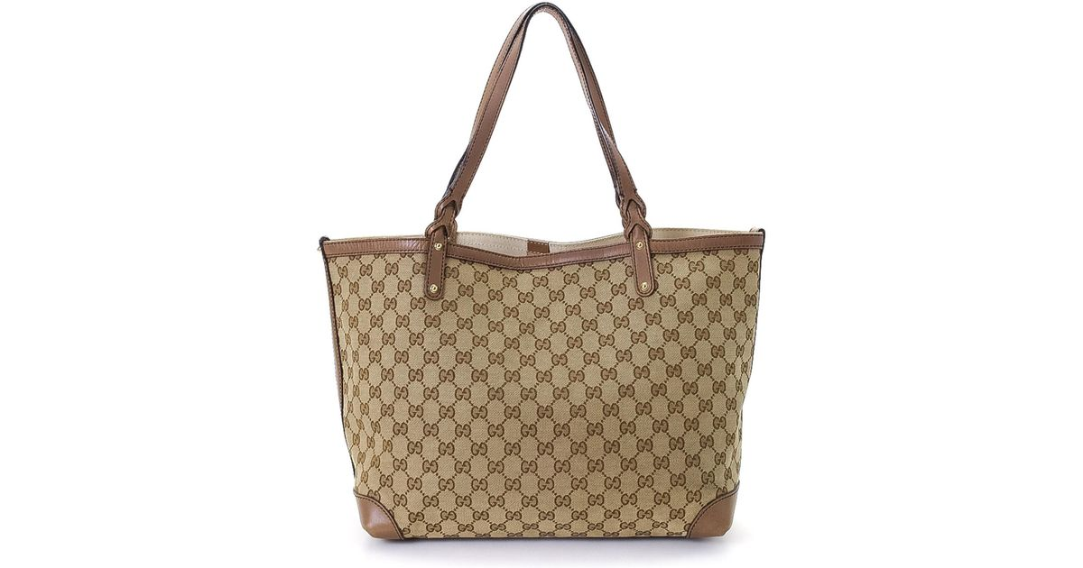 be9b253d53e389 Gucci Tote Bag - Vintage in Natural - Lyst