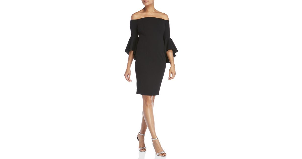 0eef1fa3 Calvin Klein Off-the-shoulder Bell Sleeve Dress in Black - Lyst