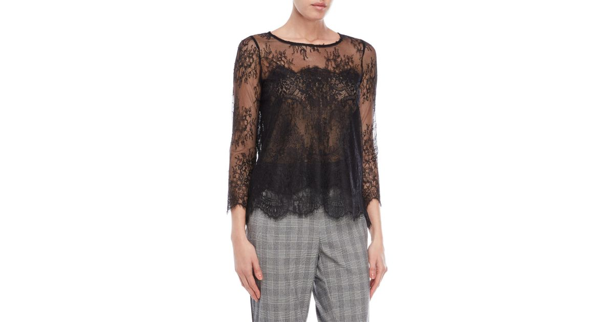 d7a852223c8 Lyst - The Kooples Black Sheer Lace Top in Black