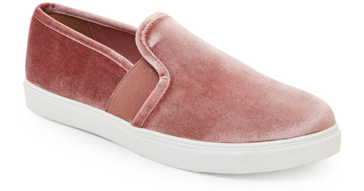f8d69935519 Lyst - Steve Madden Blush Evangel Velvet Slip On Sneakers in Pink