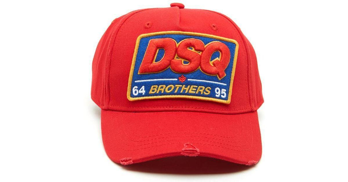 e3c289a36 DSquared² - Red Dsq Cap for Men - Lyst
