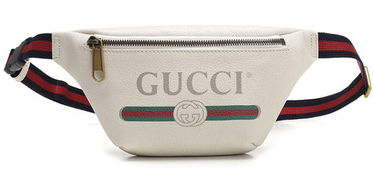 9b758337f317 Gucci Logo Print Belt Bag in White - Lyst