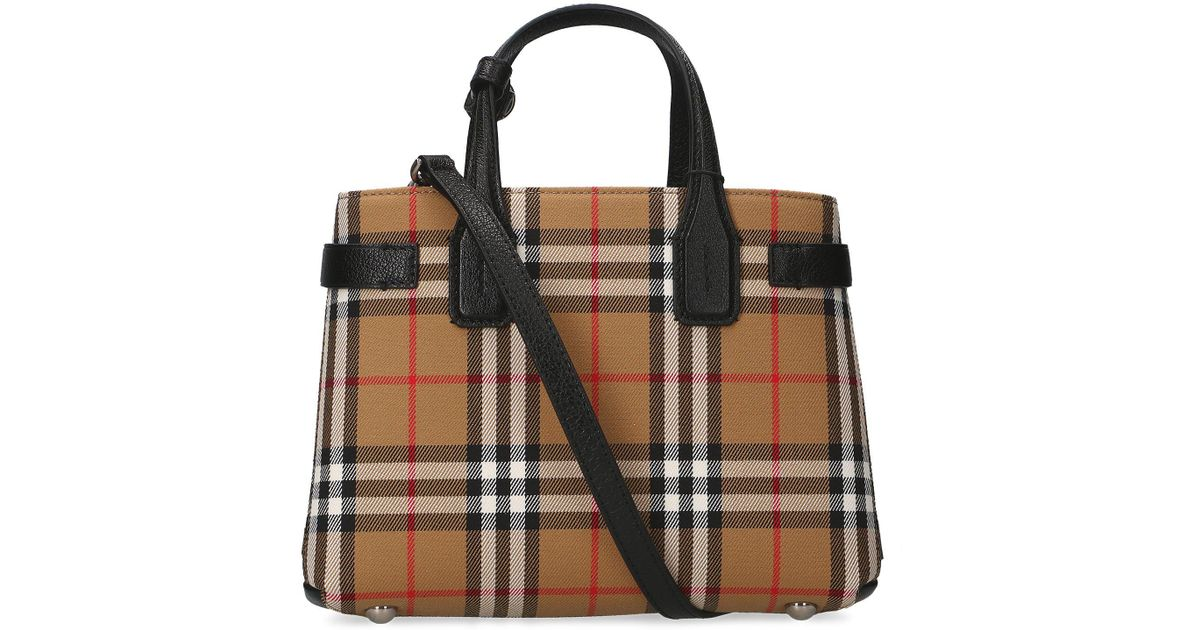 Burberry Small Banner Tartan Tote Bag - Lyst 28ee7f6ebc450
