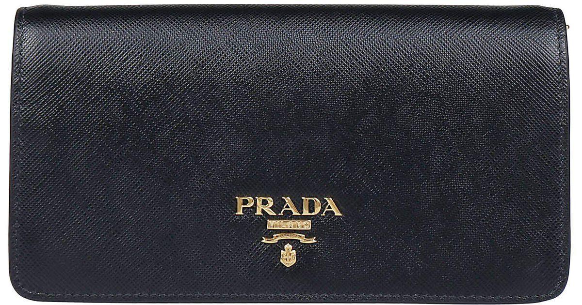 1f16562ff08335 Lyst - Prada Mini Long Chain Wallet in Black
