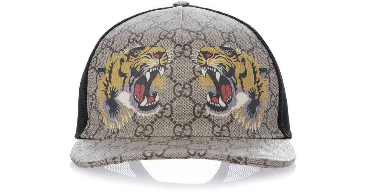4a4832117c4a Gucci GG Supreme Tiger Cap for Men - Lyst