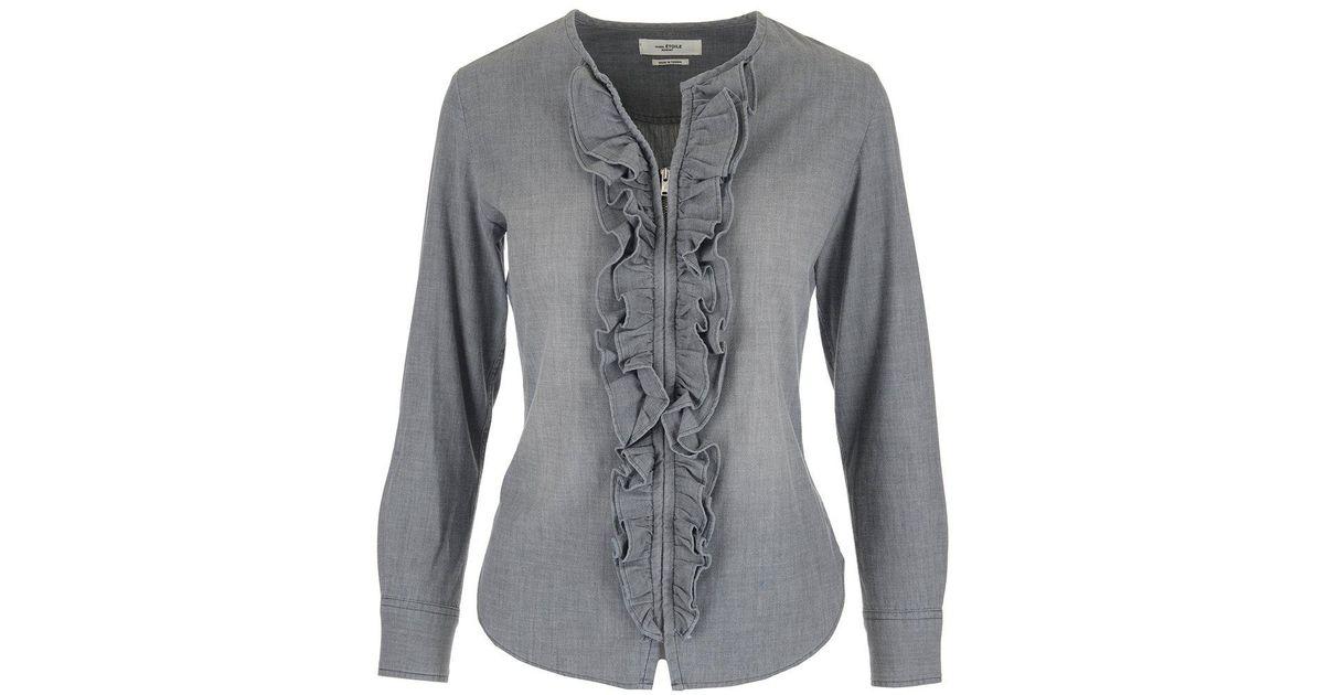 ac44e33b8e Lyst - Étoile Isabel Marant Frill Zip Up Denim Shirt in Gray