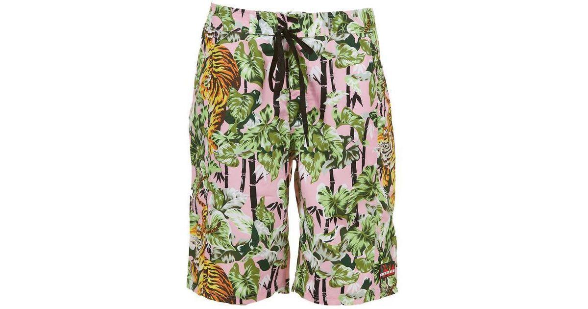 44f822fe42 Lyst - KENZO Tiger Print Swim Shorts in Green for Men