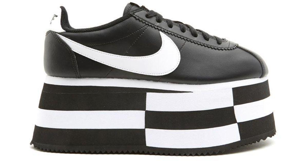 591a493a8d10 Lyst - Comme des Garçons X Nike Cortez Wedge Platform Sneakers in Black