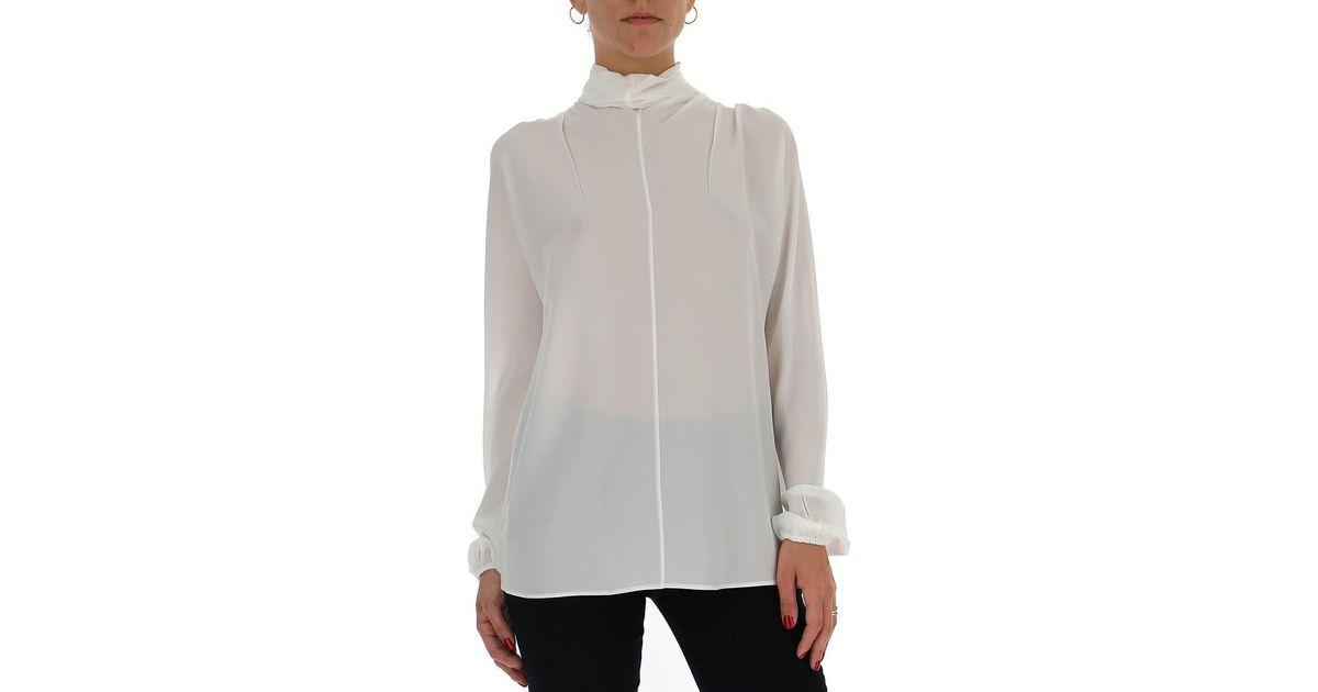 605051ff8f232 Lyst - Prada Sheer High-neck Blouse in White