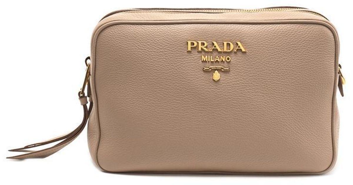 70970c2d9fb2ac Prada Logo Crossbody Bag in Natural - Lyst